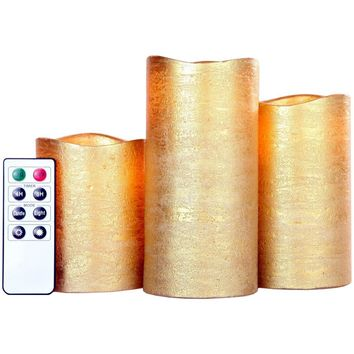 Lily's Home Everlasting Flameless LED Candles, With Remote and Timer, Set of 3 Candles - Gold
