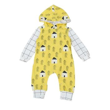 Children Clothing Toddler Baby Girls Boys Long Sleeve Arrow Print Hooded Romper Jumpsuit Clothes