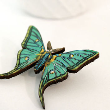 Insect Butterfly Pin Nature Brooch Woodland Insect by mintmoose