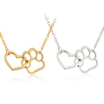 Pet Paw Footprint Love Heart Pendant Necklace