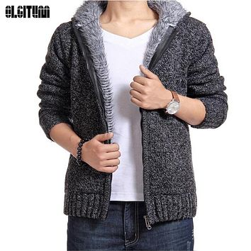 2017 man winter plus size thick velvet cotton hooded Sweatshirts men winter padded knitted casual hoodies Cardigan coat CC328