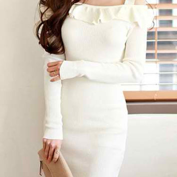 White Off-Shoulder Long Sleeve Ruffled Sheath Dress