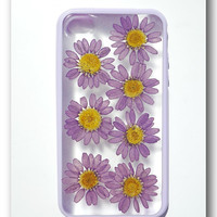 Handmade iPhone 4/4S case, Resin with Real Flowers, Purple (Matte)