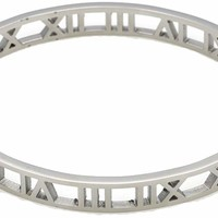 Stainless Steel Hollow Out Roman Numerals Bracelet Bangle for Lady