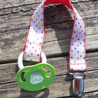 Multi colored Dots Pacifier Holder, Binky Clip, Pacifier Clip or Toy Clip, Red Ribbon