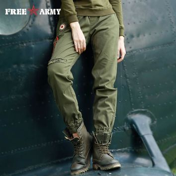 Women Army Cami Trousers Elastic Waist Trousers For Women Four Color Ankle-Length Pants
