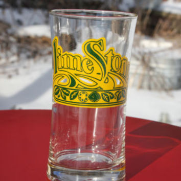 Lime Stone Vintage Drinking Glass Swanky Swig Yellow & Green Decal
