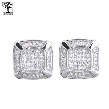 Jewelry Kay style Men's Bling Sterling Silver Pave Double Square CZ Screw Back Earrings SHS 485 S