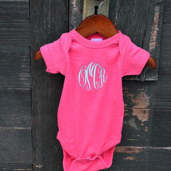 MONOGRAMMED Short Sleeve Baby Onesuits - Great for baby showers - Baby Shower Gift - Newborn - Coming Home Outfit - First Birthday