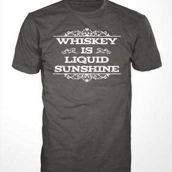 Whiskey T-Shirt - liquid sunshine alcohol bourbon scotch mens gift t-shirts drinking shirt drunk tee vintage jack daniels funny graphic