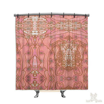Pink, Bohemian Shower Curtain, BOHO, Hippie, Chic, Shower curtain, Printed Fabric shower curtain, Bath Decor, Home Decor, Funky, Art