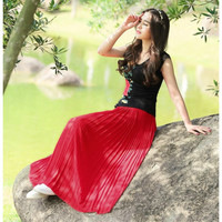 Ankle Length Elastic Fashion Bust Super Pleated Chiffon Long Skirts