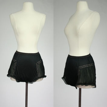 1950's sheer sissy panties accordion side pleating and black lace trim nylon high waist underwear with leg ruffle Rogers run proof small