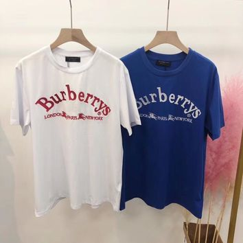 """Burberry"" Women Casual All-match Simple Embroidery Letter Short Sleeve T-shirt Top Tee"