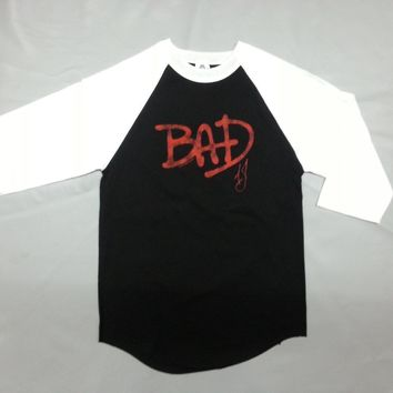 "80'S Retro Michael Jackson King Of Pop BAD ""WHO'S BAD"" Raglan T-Shirt NEW RARE!!"