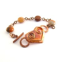Bracelet Patricia Healey Copper Heart With Flower Agate Coin Beads