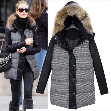 Women's Winter Jacket 2016 Long-sleeved Cotton PU Leather Stitching Hooded Down JacketPadded Coat Abrigos Chaquetas BF427