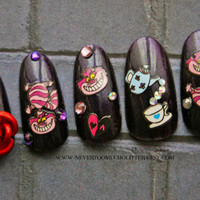 False Nails- 3D Japanese Nail Art- Dark Alice in Wonderland- Fake Nails