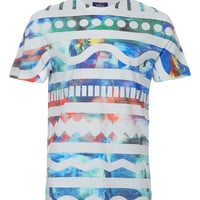 WHITE OCEAN PRINT T-SHIRT - New In - TOPMAN USA