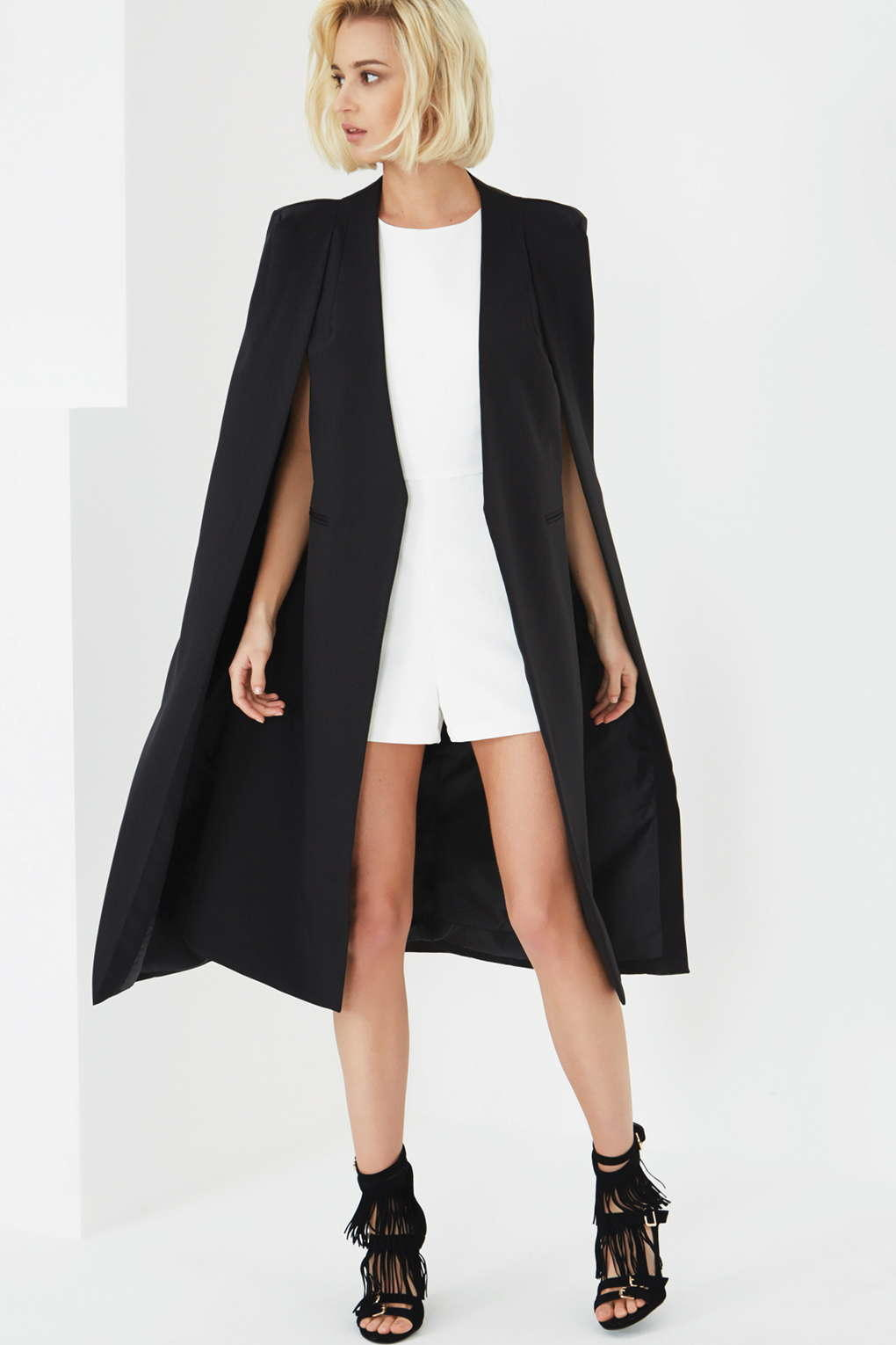**Black Collarless Cape Coat by Lavish from TOPSHOP   The ...