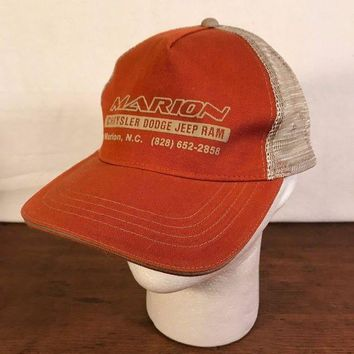 CREYRQ5 Men's Rust Marion Chrysler Dodge Jeep Ram Mesh Trucker Adjustable Cap Hat (CH2)