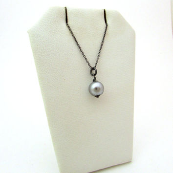 Gray glass pearl necklace, pewter pearl jewelry, gray pearl solitaire, Czech glass pearl pendant, oxidized silver pearl solitaire pendant