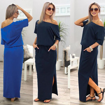 2017 New Sexy Summer Women Boho Maxi Dress Short Sleeve Side Slit Loose Evening Party Long Beach Dress with Pocket Vestidos -03d27