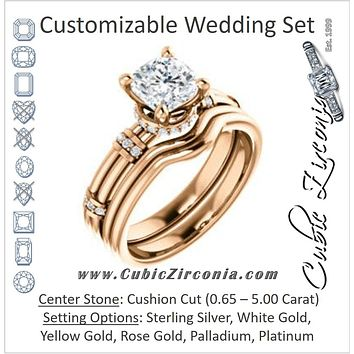 CZ Wedding Set, featuring The Jayla engagement ring (Customizable Cushion Cut Style with Under-Halo & Horizontal Band Accents)