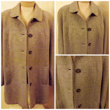 Vintage Womens 80s London Fog Top Coat Gray Wool Size XL