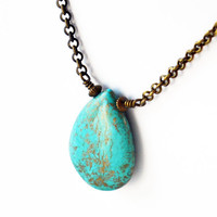 Boho Chic Turquoise Howlite Necklace Antiqued Brass Wire Wrapped Womens Necklace Bohemian Necklace Antique Gold Bohemian Chic Hipster Hippie