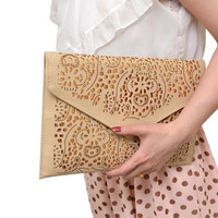 Cutout Leather Clutch