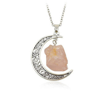 Crescent Moon w/ Quartz Crystals Necklace