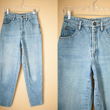 High Waisted 80s JEANS | Skinny Jeans 80s Denim Goth Grunge Preppy 80s High Waisted pants Distressed Faded Denim Tapered Pegged Mom Jeans
