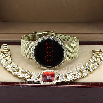 New 14K Gold Digital Smart Watch Mash Band Ruby Cuban Bracelet Set 60G