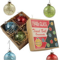 1940's Tinsel Ball Ornament Set