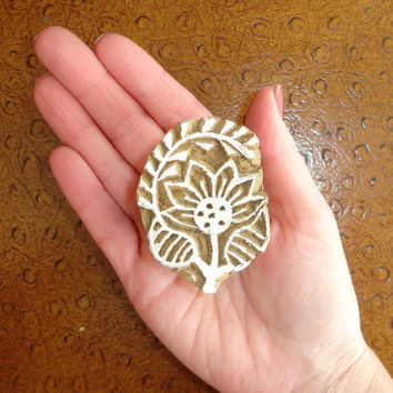 Flower Stamp: Clay Stamp, Sunflower, Vine, Hand Carved Wood Stamp, Handmade Printing Block from India, Mendhi Henna Tattoo Design