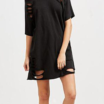 Black Boat Neck Cut Out Hollow Design Tee Dress