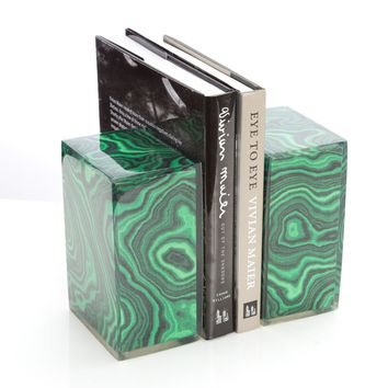 Malachite Bookends Pair design by Couture Lamps – BURKE DECOR