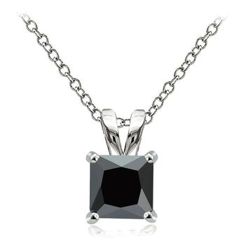 925 Sterling Silver 4ct Black Cubic Zirconia 9mm Square Solitaire Necklace