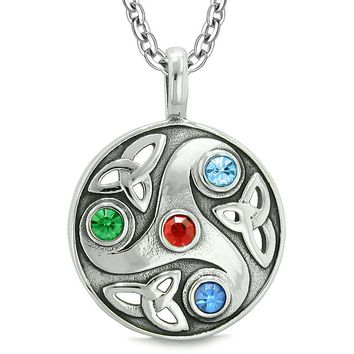 Goddess Celtic Triquetra Knot Protection AmuletCircle Red Green Blue Crystals Pendant Necklace