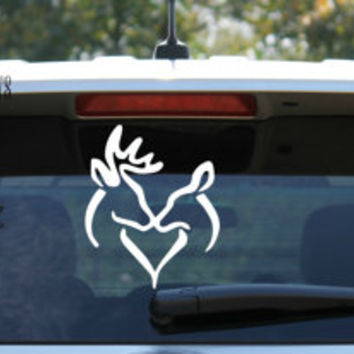 Buck and Doe Kissing Heart Shape Decal