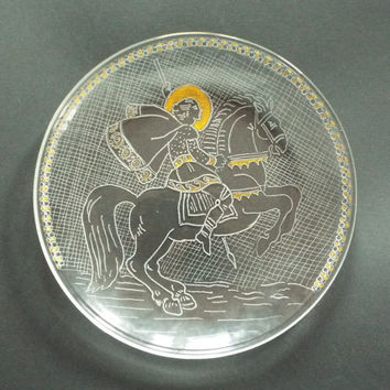 Saint St. George, Orthodox icon, Hand engraved on glass dish, Eastern icon, Religious gift, Family gift, Religious art,  Home Décor