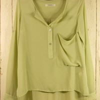 Pastel Green Laidback Shirt - Retro, Indie and Unique Fashion