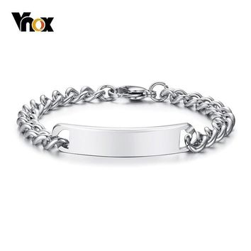 Vnox Classic Stainless Steel Bar Bracelets for Women Men Curb Link Chain Identification ID Bangle Silver Color Unisex Ornaments