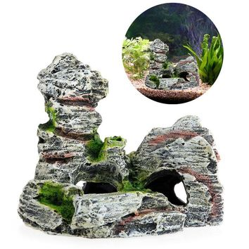 Mountain View Aquarium Decoration Moss Tree House Resin Cave Fish Tank Ornament Decoration Landscap Decorative