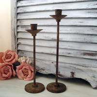 Rustic Candle Holders, Pair of Candle Stick Holders, Patina, Shabby Rustic Decor, Taper Candle Holders, Rustic Decor, Shabby French Decor