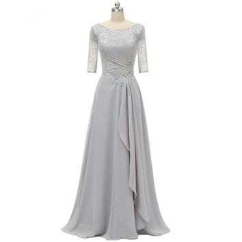 A Line Ruffles Short Half Sleeves Scoop Neck Lace Formal Evening Dress Gown Silver For Wedding Party Mother Of the Bride