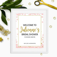 Bridal Shower Welcome Sign-Pink and Gold Bridal Shower Welcome Poster-Personalised DIY Printable Glitter Floral Welcome Sign-Welcome Board