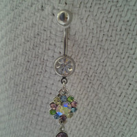 Rainbow Flower Crystals Dangling Sexy Belly / Navel Ring Body Jewelry | eBay