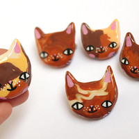SALE - Clay Calico Cat Brooch